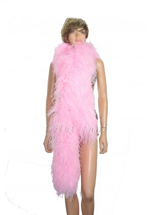"10 plys pink  Luxury Ostrich Feather Boa 71""long (180 cm)"