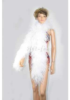 "10 plys white Luxury Ostrich Feather Boa 71""long (180 cm)"
