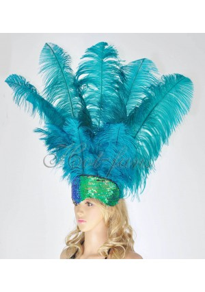 teal Sharp Angle Ostrich Feathers Open Face  Headgear Headdress