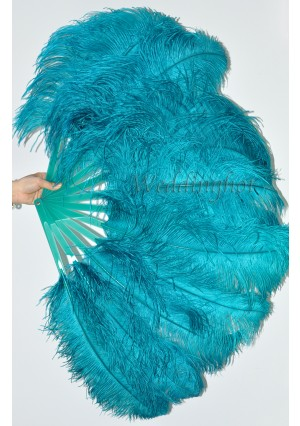 """A pair teal Single layer Ostrich Feather fan 24""""x41"""" burlesque dancer with gift box"""