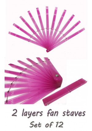 """Set of 12 of two layers fan staves 13"""" (33 cm ) long & Hardware Assembly Kit"""
