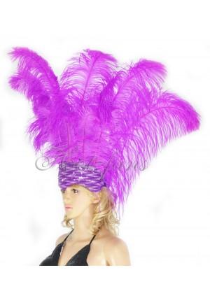 lavender Sharp Angle Ostrich Feathers Open Face  Headgear Headdress
