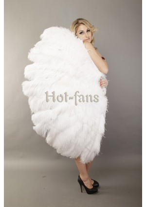 """Custom color 3 Layers Ostrich Burlesque Feather Fan 65"""" dance friend with gift box"""