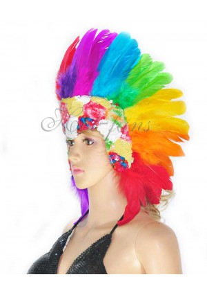 Rainbow feather sequins crown las vegas dancer showgirl headgear headdress