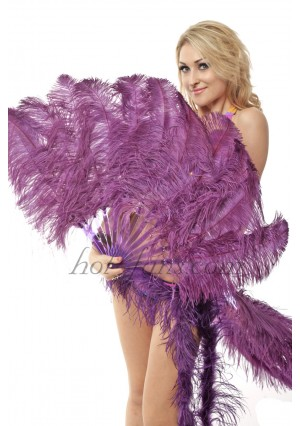 "Dark purple single layer Ostrich Feather Fan Burlesque friend 25""x45"" with gift box"