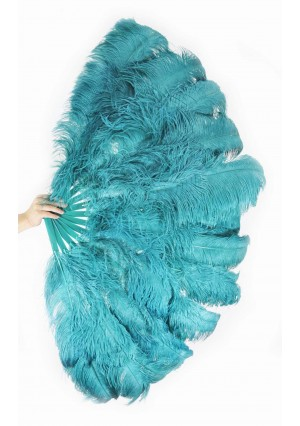 """Teal 3 Layers Ostrich Burlesque Feather Fan 65"""" dance friend with gift box"""