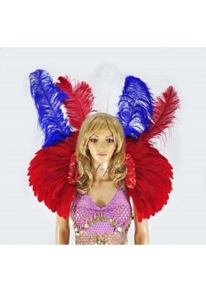 showgirl mix color USA flag sequins ostrich feather shoulder back piece