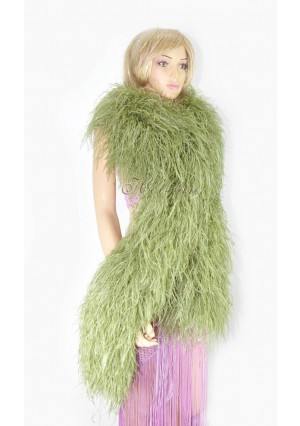 "Olive drab 20 plys full and fluffy Luxury Ostrich Feather Boa 71""long (180 cm)"