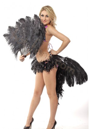 """Black single layer Ostrich Feather Fan Burlesque friend 25""""x45"""" with gift box"""