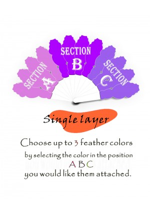 """Custom color & select feather placement! single  layers Ostrich Feather Fan 25"""" x 45"""""""