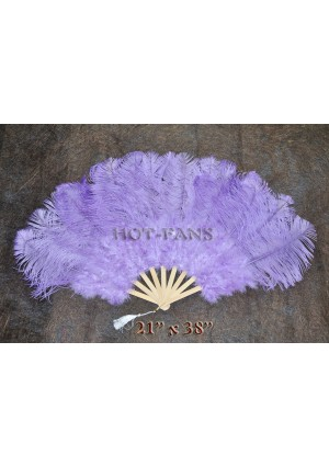 """Aqua VIOLET Marabou Ostrich Feather fan primary Burlesque Dance 21""""x38"""" with gift box"""