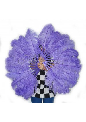 "A pair aqua violet Single layer Ostrich Feather fan 24""x41"" burlesque dancer with gift box"