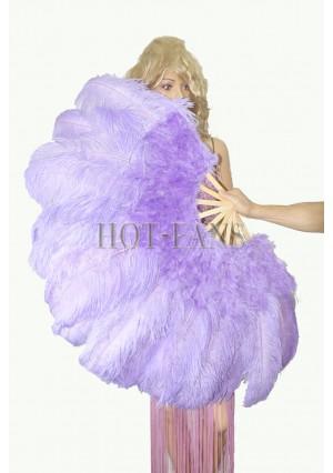 "Aqua violet Ostrich & Marabou Feathers fan Burlesque dance with carrying case 27""x 53"""