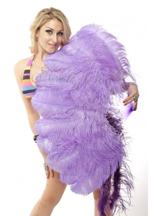 "aqua violet single layer Ostrich Feather Fan Burlesque friend 25""x45"" with gift box"
