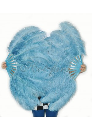 "A pair sky blue Single layer Ostrich Feather fan 24""x41"" burlesque dancer with gift box"