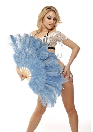 """baby blue Marabou Ostrich Feather fan primary Burlesque Dance 21""""x38"""" with gift box"""
