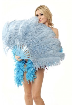 """Baby blue single layer Ostrich Feather Fan Burlesque friend 25""""x45"""" with gift box"""