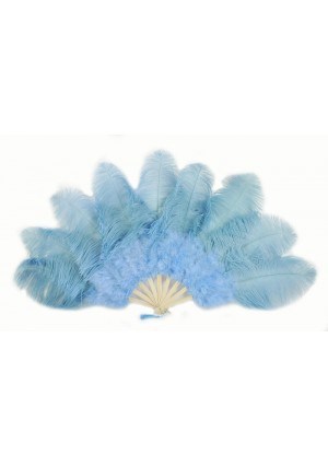 "baby blue Ostrich & Marabou Feathers fan Burlesque dance with carrying case 24""x43"""
