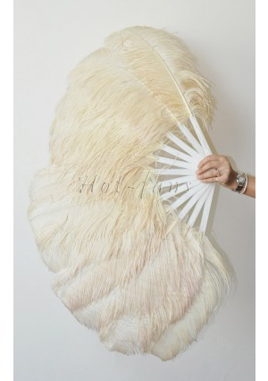 "Beige single layer Ostrich Feather Fan Burlesque friend 25""x45"" with gift box"
