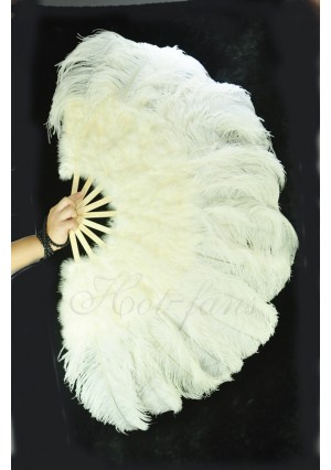 "Beige Ostrich & Marabou Feathers fan Burlesque dance with carrying case 27""x 53"""