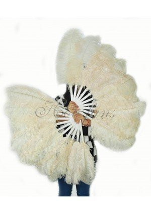 "A pair beige Single layer Ostrich Feather fan 24""x41"" burlesque dancer with gift box"