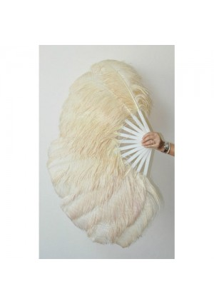 "Beige 2 layers Ostrich Feather Fan Burlesque dancer friends 30""x 54""  with gift box"