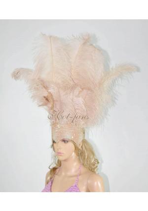 Beige Camel Sharp Angle Ostrich Feathers Open Face  Headgear Headdress