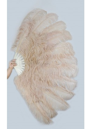 "Beige Camel XL 2 layers Ostrich Feather Fan Burlesque dancer friends 34""x 60"" with gift box"