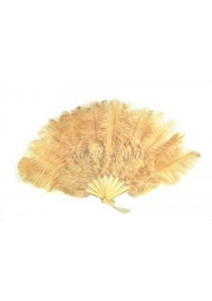 """Beige camel Marabou Ostrich Feather fan primary Burlesque Dance 21""""x38"""" with gift box"""