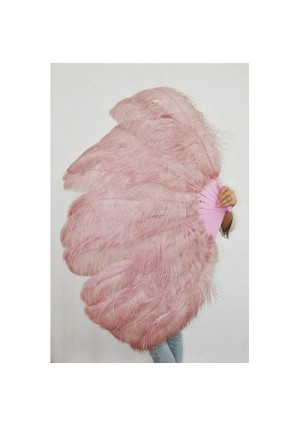 """beige wood 2 layers Ostrich Feather Fan Burlesque dancer friends 30""""x 54""""  with gift box"""
