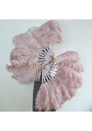 "A pair beige wood Single layer Ostrich Feather fan 24""x41"" burlesque dancer with gift box"
