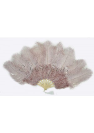 """Beige Wood Ostrich & Marabou Feathers fan Burlesque dance with carrying case 24""""x43"""""""