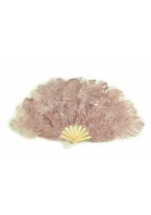 """Beige wood Marabou Ostrich Feather fan primary Burlesque Dance 21""""x38"""" with gift box"""