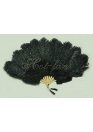 """black Ostrich & Marabou Feathers fan Burlesque dance with carrying case 24""""x43"""""""