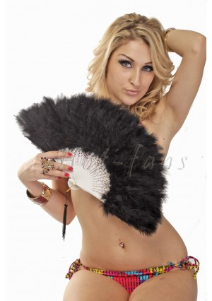 Black petite Marabou feather fan costumes Ladies Fancy Dress Wedding party 20""