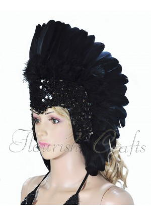 Black feather sequins crown las vegas dancer showgirl headgear headdress