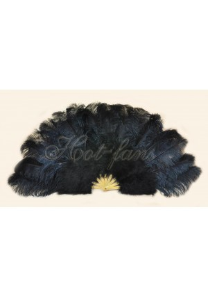 "black Ostrich & Marabou Feathers fan Burlesque dance with carrying case 27""x 53"""