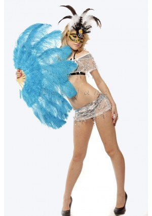 "turquoise Ostrich & Marabou Feathers fan Burlesque dance with carrying case 24""x43"""