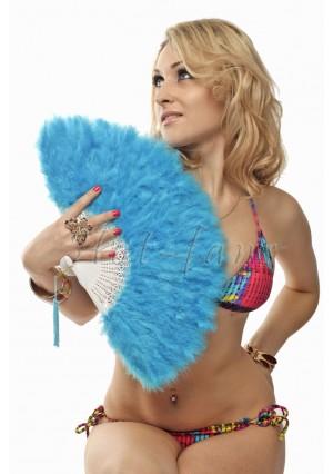 "Blue petite Marabou feather fan costumes Ladies Fancy Dress Wedding party 20"""