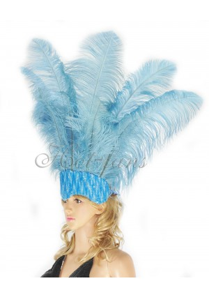 baby blue Sharp Angle Ostrich Feathers Open Face  Headgear Headdress