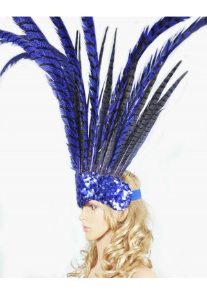 Blue Open Face Pheasant Feathers Headdress headgear with Sequins crown