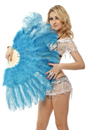 "blue Marabou Ostrich Feather fan primary Burlesque Dance 21""x38"" with gift box"