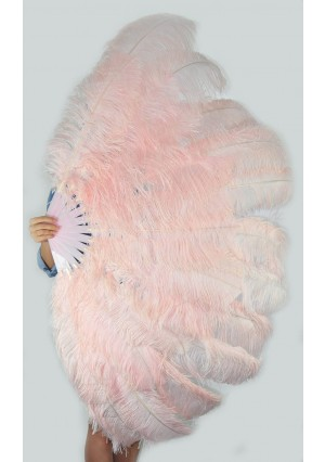 "Blush XL 2 layers Ostrich Feather Fan Burlesque dancer friends 34""x 60"" with gift box"