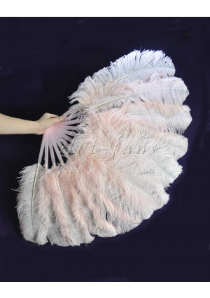 """Blulsh single layer Ostrich Feather Fan Burlesque friend 25""""x45"""" with gift box"""