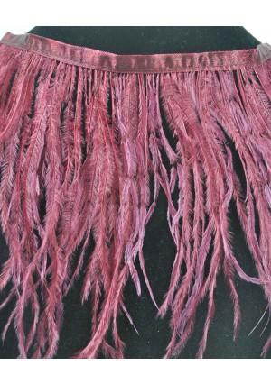 """Ostrich Feather Fringe (182 cm ) 2 yard trim 5""""-6"""" (13cm-15cm) in Burgundy Color"""