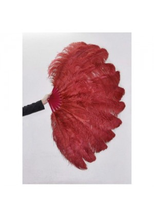 """burgundy 2 layers Ostrich Feather Fan Burlesque dancer friends 30""""x 54""""  with gift box"""