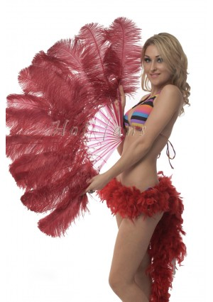 """Burgundy single layer Ostrich Feather Fan Burlesque friend 25""""x45"""" with gift box"""