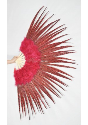 "Red Marabou and Pheasant  Feather Fan Burlesque Dance 29""x 53""  with Gift Box"