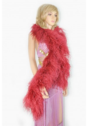 "10 plys burgundy Luxury Ostrich Feather Boa 71""long (180 cm)"