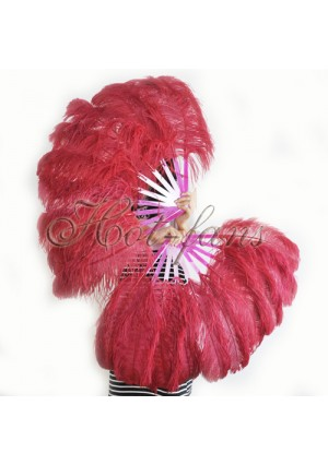 """A pair burgundy Single layer Ostrich Feather fan 24""""x41"""" burlesque dancer with gift box"""